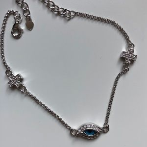 Sterling Silver Evil Eye Cross Bracelet